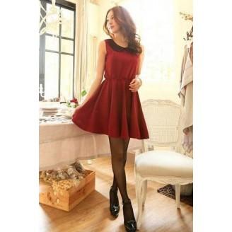 Fashion Basic Dress With Lace Collar
