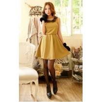Fashion Basic Dress With Lace Collar