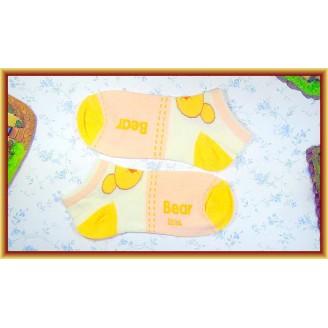 Fashion Lady Socks Low Length Orange Bear Pattern Design
