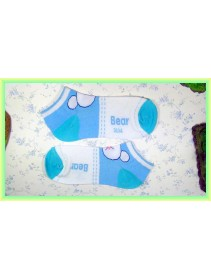 Fashion Lady Socks Low Length Light Blue Bear Pattern Design