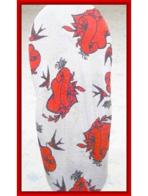 Fashion Foot Cover With Red Flowers & Birds Pattern Design