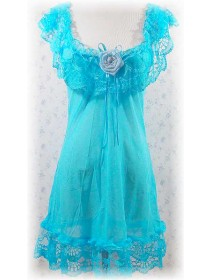 Sexy Transparent Blue Satin Flower Lace Babydoll With Matching G-String