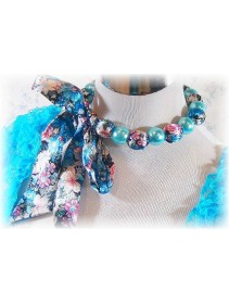 Fashion Handmade Korean Necklace With Blue Satin Flower Ribbon Design & Blue Pearls Beads