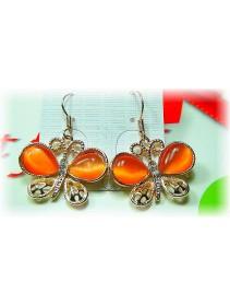 Fashion Handmade Korean Earrings With Orange Shinning Crystal Butterfly-Like Shape