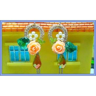Fashion Handmade Korean Earrings With Stunning Crystal & Flowers Beads