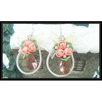 Fashion Handmade Korean Earrings With Shinning Maroon Crystals & Red Flowers