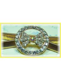 Fashion Gold-Plated Belt With Stunning Round & Ribbon-Like Shape Shinning Diamonds