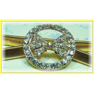 Fashion Gold-Plated Belt With Stunning Round & Ribbon-Like Shape Shinning Diamonds