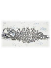 Fashion Silver Plated Belt With Stunning Peacock-Like Shape Shinning Diamonds