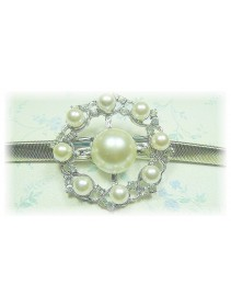 Fashion Silver Plated Belt With Stunning Wheel-Like Shape Shinning Pearls