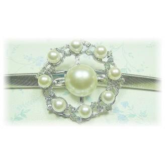 Fashion Silver Plated Belt With Stunning Wheel-Like Shape Shinning Pearls