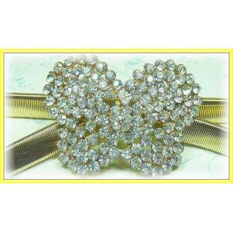Fashion Gold-Plated Belt With Stunning Butterfly-Like Shape Shinning Diamonds