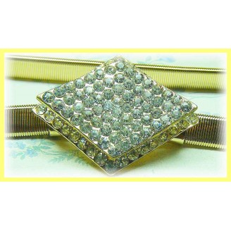 Fashion Gold-Plated Belt With Stunning Double-Layer Square Shape Shinning Diamonds