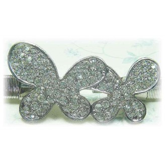 Fashion Silver-Plated Belt With Stunning Double Butterfly-Like Shape Shinning Diamonds