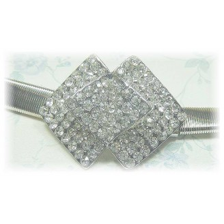 Fashion Silver Plated Belt With Stunning Triple Square Shape Shinning Diamonds