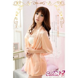 Sensual Peach Color Night Robe With Matching G-String