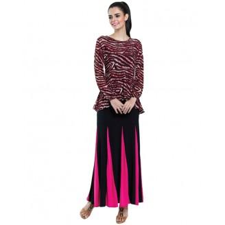 Fashion Asymmetric Tribal Printed Peplum Top