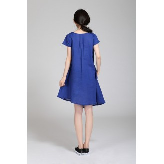 Fashion Flax Commoner Pleated Design Casual Dress