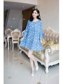 Fashion Flax Commoner Floral Design Puff Sleeve Tunic Dress