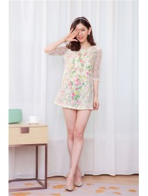 Fashion Floral Lace Design Round Neck Dress