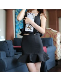 Fashion Two-Piece Peplum Sleeveless Top With Ruffles Skirt