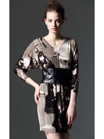 Fashion V Neck Slim Dress With Leather Waist