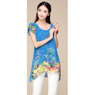 Trendy Asymmetric Floral Design Chiffon Top