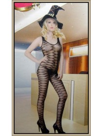 Sexy Black Open Crotch Fishnet Bodystocking With Exotic Design (Without G-String)