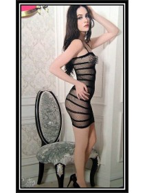 Sexy Black Spaghetti Straps Mini Dress Fishnet Bodystocking With Stripes Design (Without G-String)
