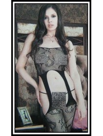 Sexy Black Spaghetti Straps High Garter Fishnet Bodystocking With Exotic Design (Without G-String)