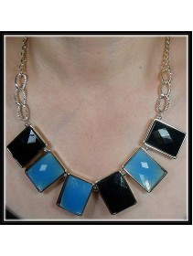 Fashion Korean Square Black & Blue Design Necklace