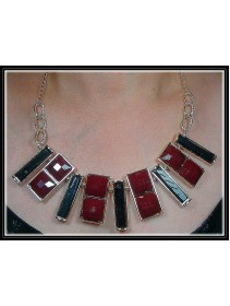 Fashion Korean Multiple Shapes Black & Maroon Color Design Necklace