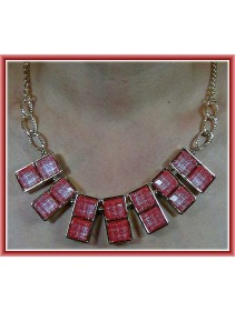 Fashion Korean Double Square Pink Color Design Necklace
