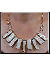 Fashion Korean Rectangle Shape White Color Design Necklace