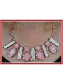 Fashion Korean Multiple Shapes Pink & White Color Design Necklace