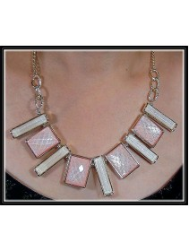 Fashion Korean Mixed Rectangle & Square Shape With Pink & White Color Design Necklace