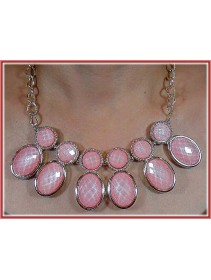 Fashion Korean Double Round Shape Pink Color Design Necklace