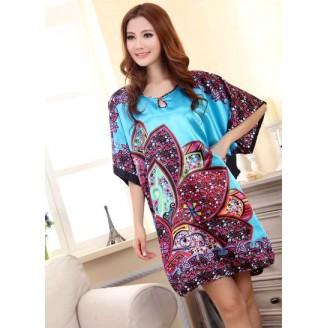 Appealing Exotic & Flowery Design Sleeves Dress Pyjamas