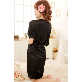Lovely Black Silk With Lace Design Robe (Without Accessories)