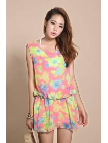 Fashion Floral Design Chiffon Tank Dress With Waist String