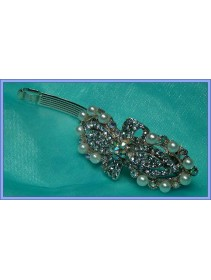Lovely Single Ribbon With Crystal And Pearl Hairclip