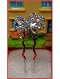 Lovely Silver Ribbon Crystal Hairpin
