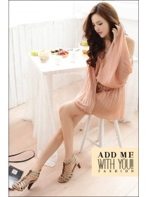 Fashion Off Shoulder Big Sleeve Chiffon Short Dress