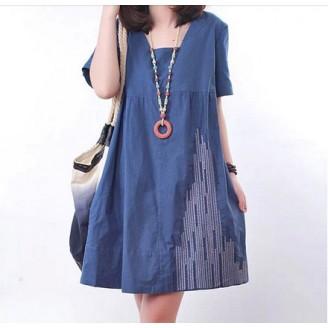 Fashion Square Neck Casual Tunic Dress