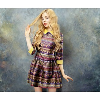Fashion 3/4 Sleeve Retro Design Collared Flare Dress
