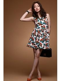 Fashion Feather Design Sleeveless Flare Dress