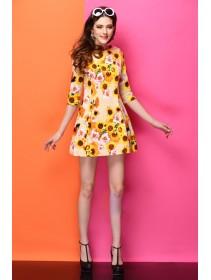 Fashion Flower Design Slim Mini Dress