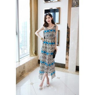 Fashion Asymmetric Wave Design Chiffon Long Dress