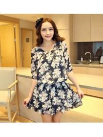 Fashion 3/4 Sleeve Floral Design Flare Dress