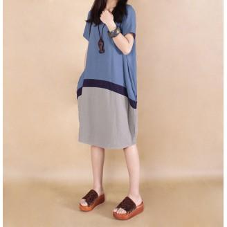 Fashion Three-Tone Round Neck Casual Dress